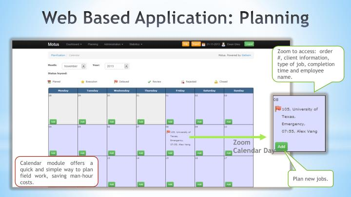 Zoom to access:  order #, client information, type of job, completion time and employee name.