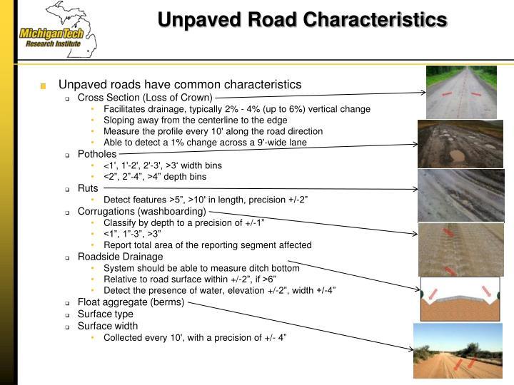 Unpaved Road Characteristics