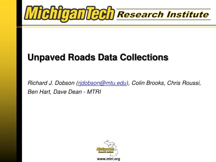 Unpaved roads data collections
