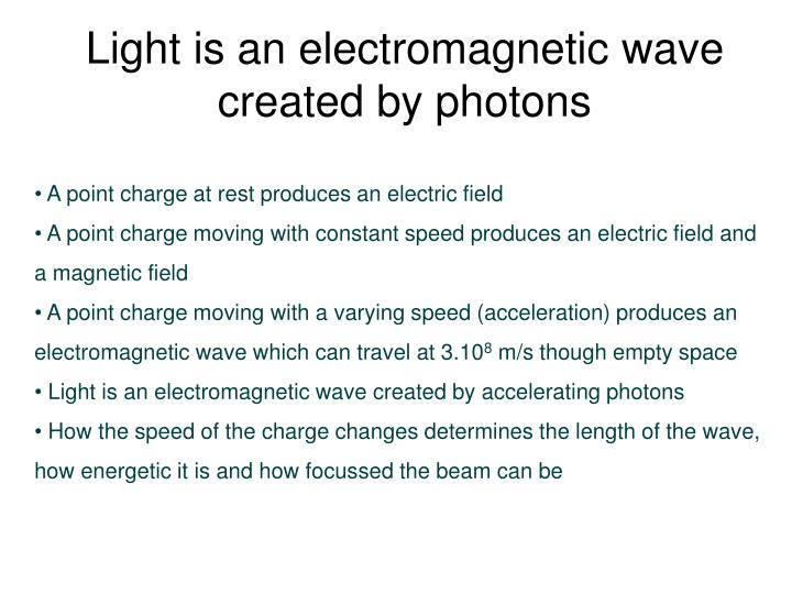 Light is an electromagnetic wave created by photons