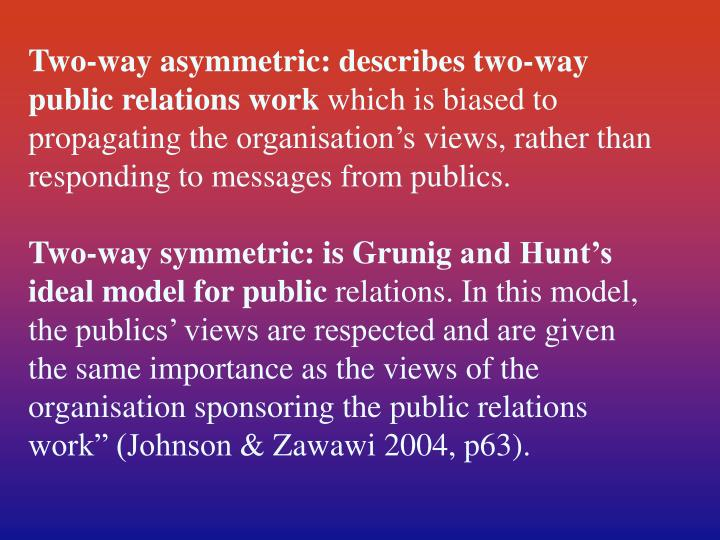 Two-way asymmetric: describes two-way public relations work