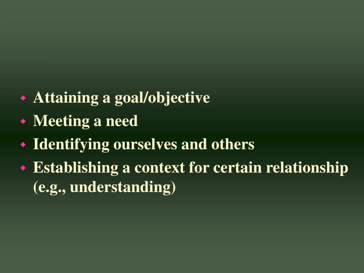 Attaining a goal/objective