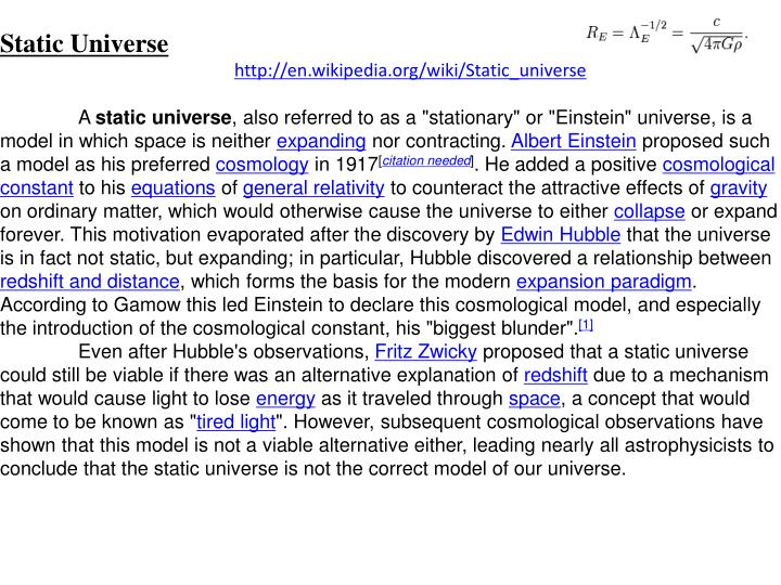 Static Universe