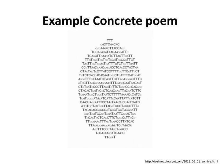 Example Concrete poem