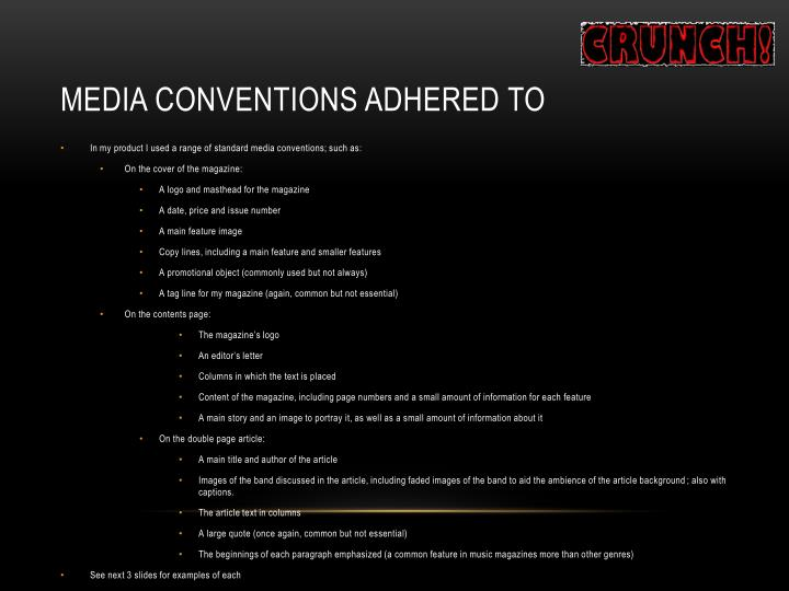 Media Conventions Adhered To