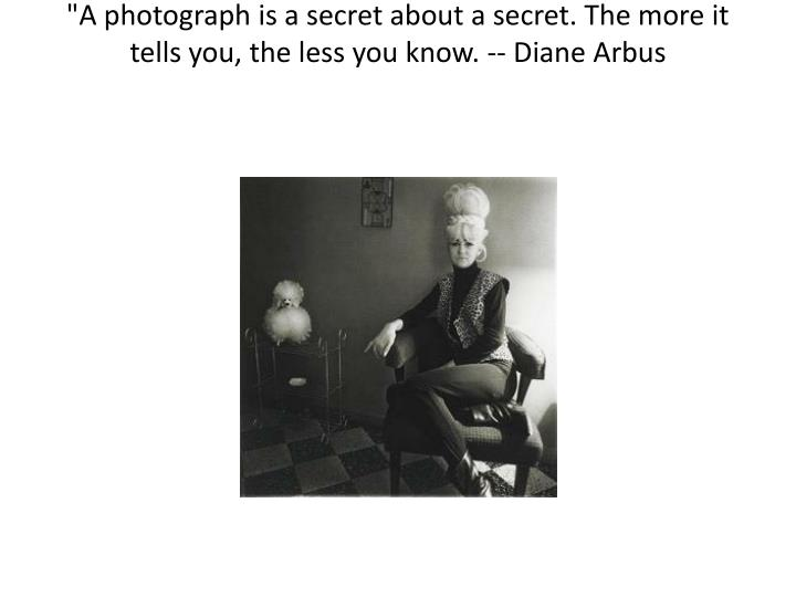 """A photograph is a secret about a secret. The more it tells you, the less you know. -- Diane"