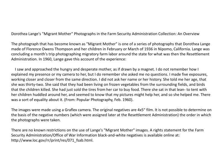 "Dorothea Lange's ""Migrant Mother"" Photographs in the Farm Security Administration Collection: An Overview"