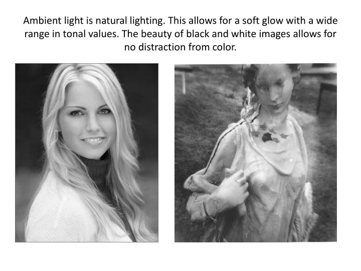 Ambient light is natural lighting. This allows for a soft glow with a wide range in tonal values. The beauty of black and white images allows for no distraction from color.