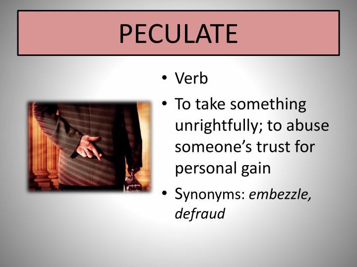 PECULATE
