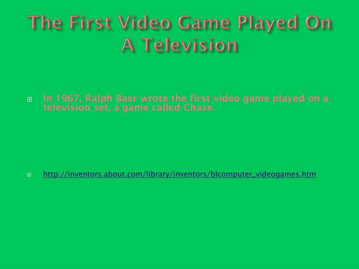The First Video Game Played On A Television