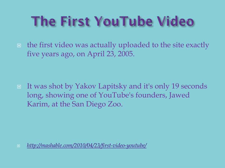 The First YouTube Video