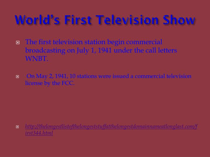 World's First Television Show