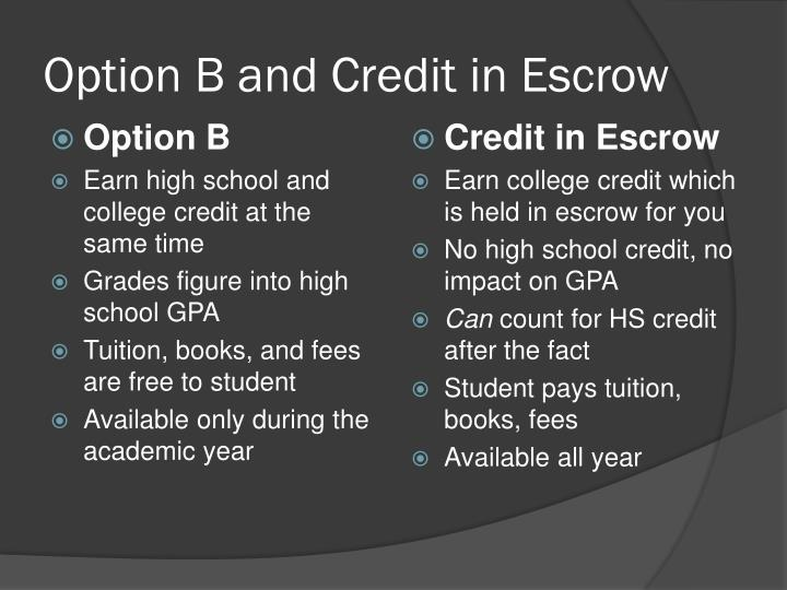 Option b and credit in escrow
