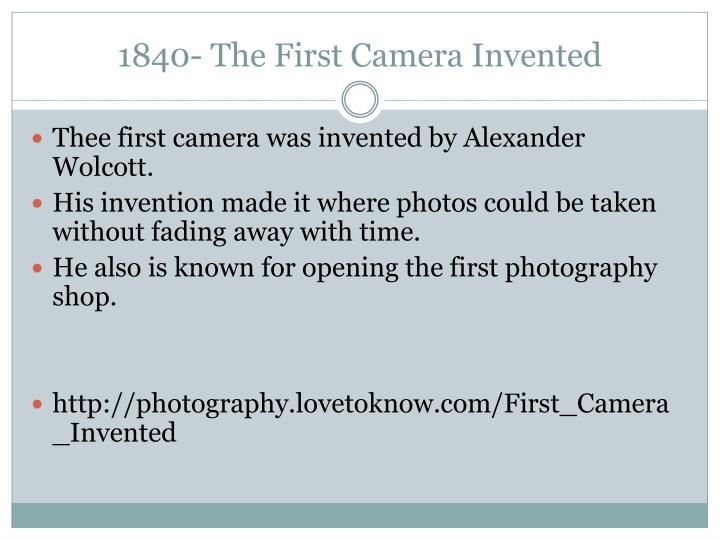 1840 the first camera invented