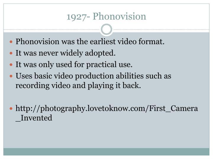 1927- Phonovision