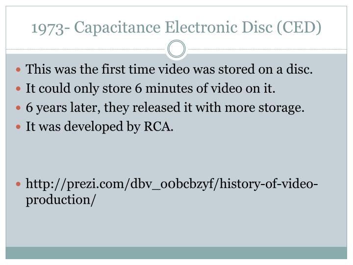 1973- Capacitance Electronic Disc (CED)