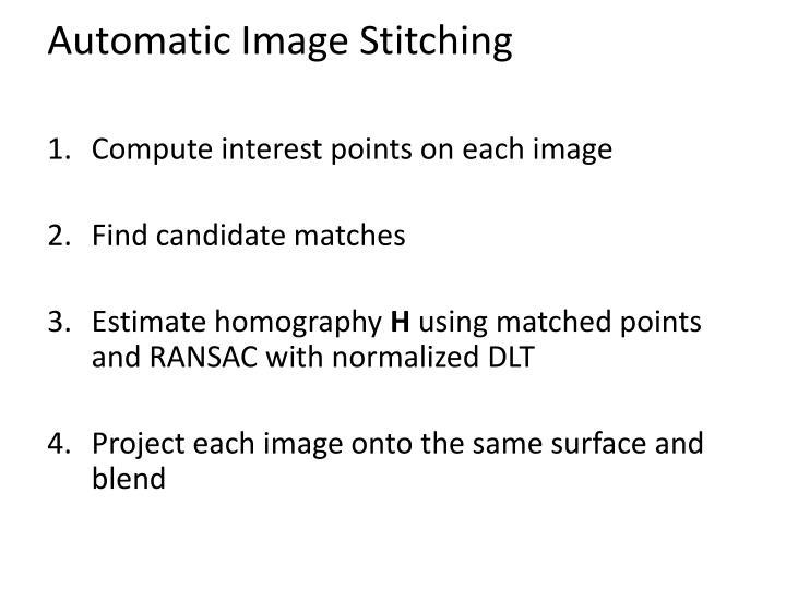 Automatic Image Stitching