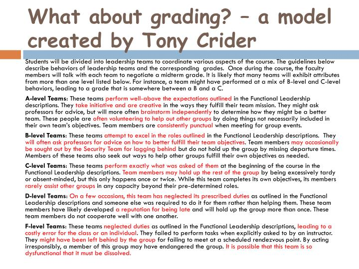 What about grading? – a model created by Tony Crider