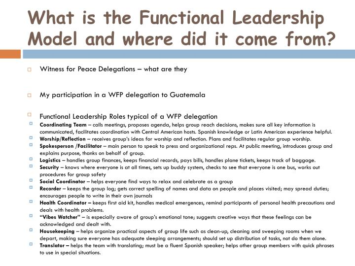 What is the functional leadership model and where did it come from