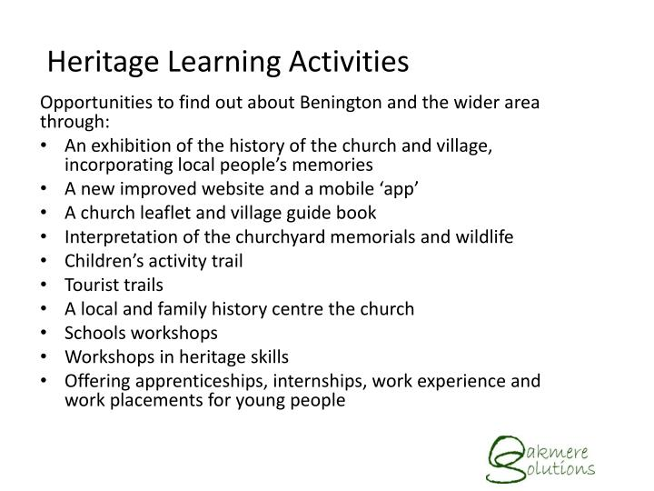 Heritage Learning Activities