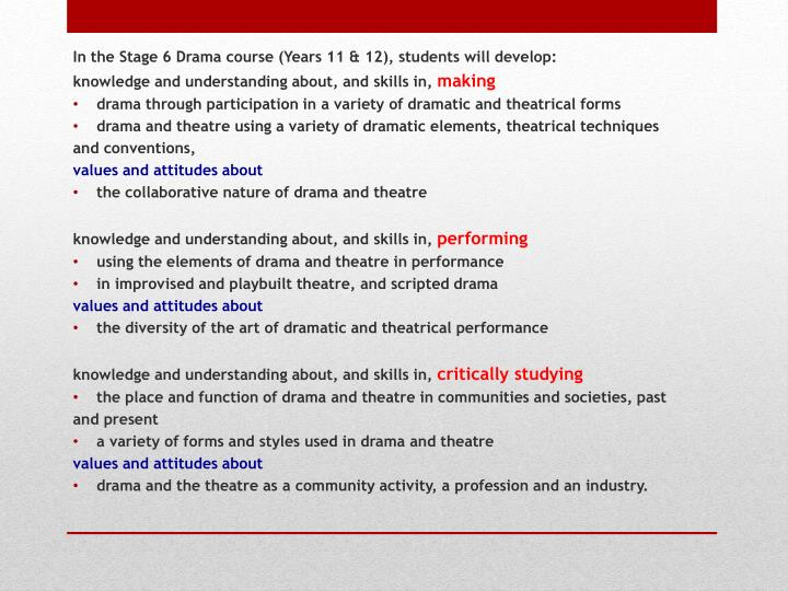 In the Stage 6 Drama course (Years 11 & 12), students
