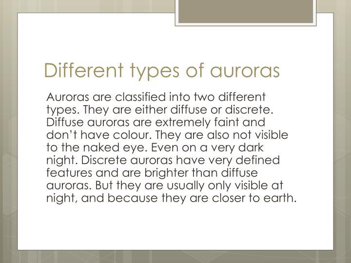 Different types of auroras