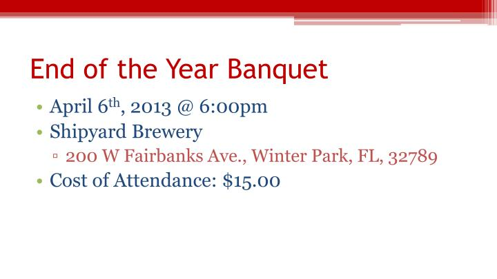 End of the Year Banquet