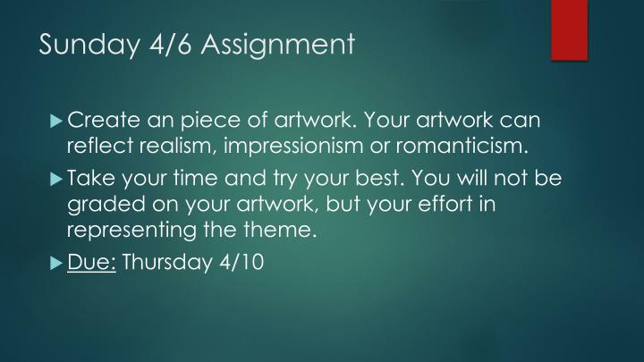 Sunday 4/6 Assignment