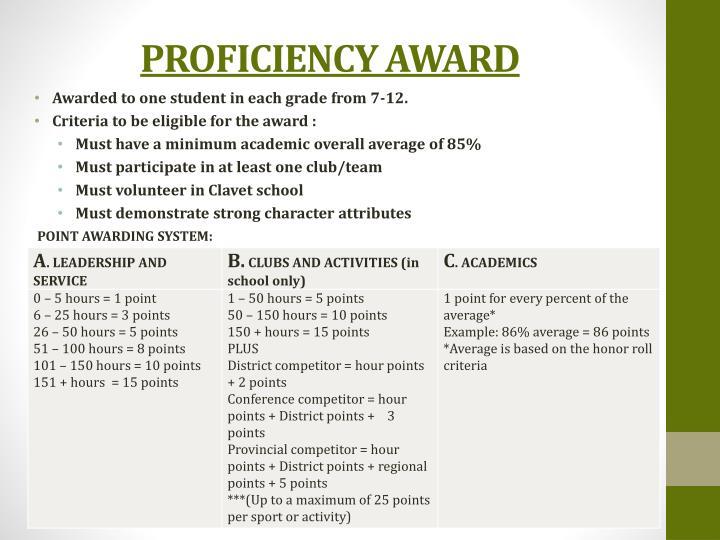 PROFICIENCY AWARD