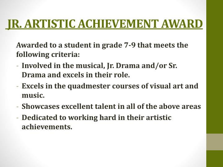 JR. ARTISTIC ACHIEVEMENT AWARD