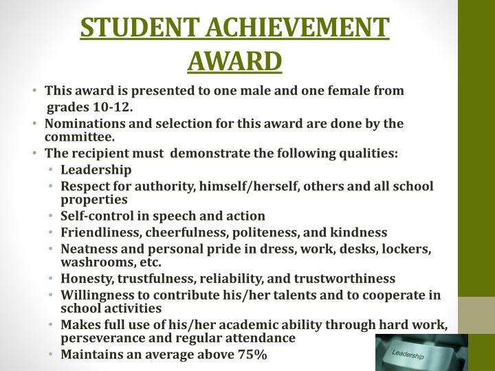 STUDENT ACHIEVEMENT AWARD