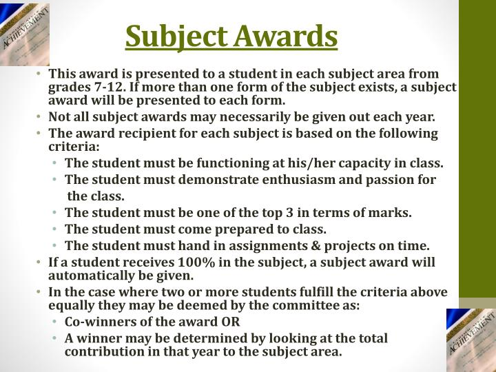 Subject Awards