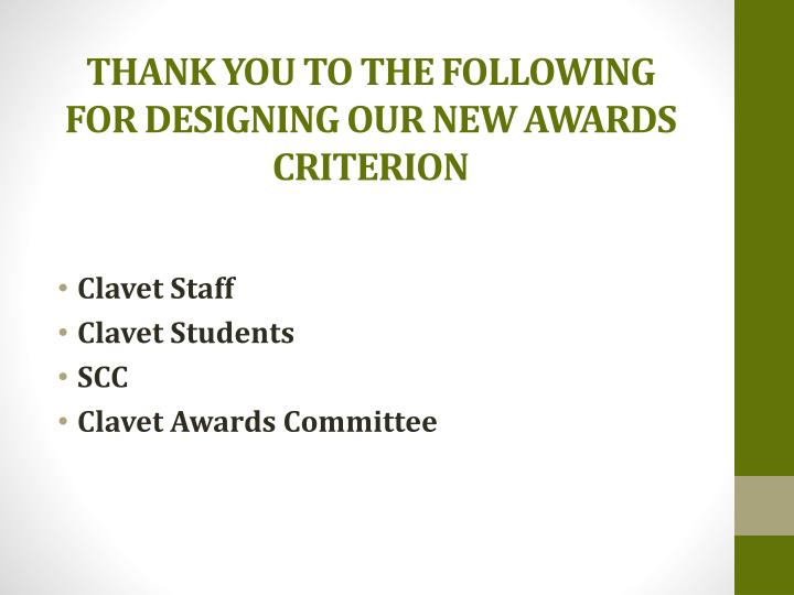 THANK YOU TO THE FOLLOWING FOR DESIGNING OUR NEW