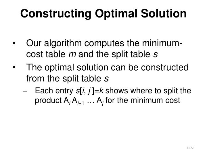 Constructing Optimal Solution