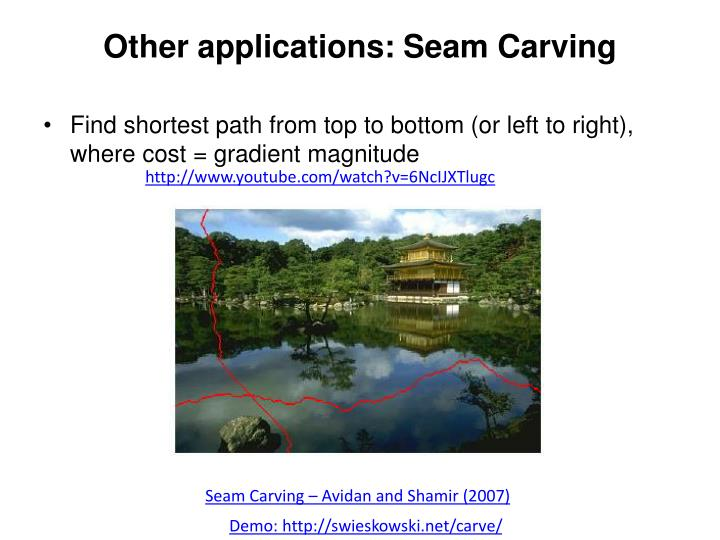 Other applications: Seam Carving