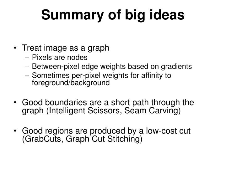 Summary of big ideas