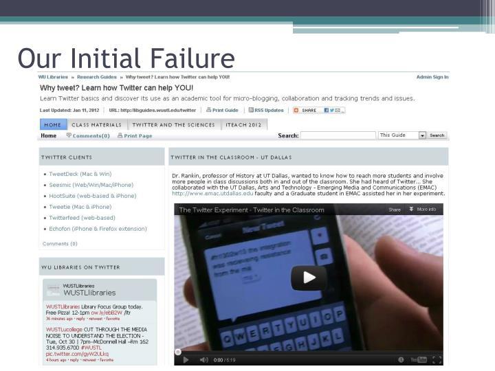 Our Initial Failure