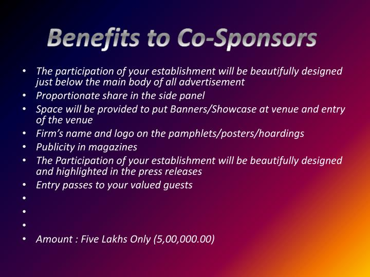 Benefits to Co-Sponsors