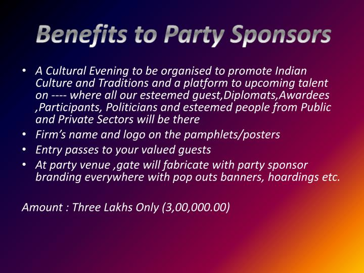 Benefits to Party Sponsors