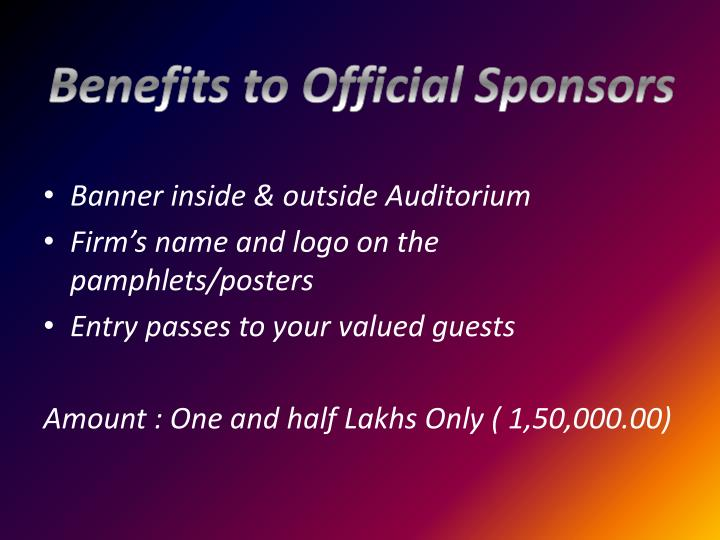 Benefits to Official Sponsors