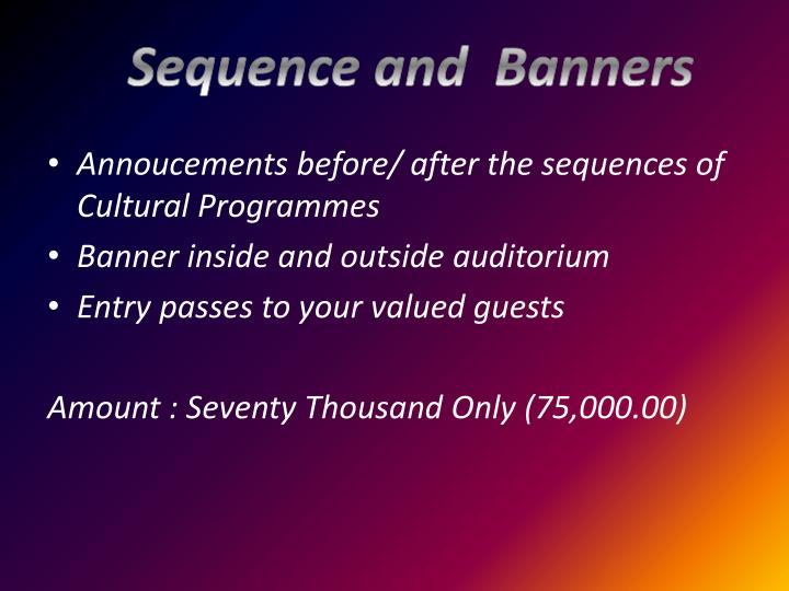 Sequence and  Banners