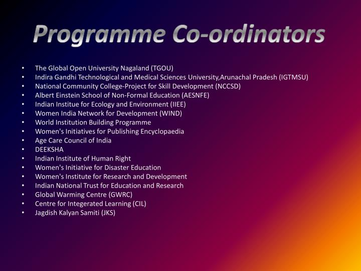 Programme Co-ordinators