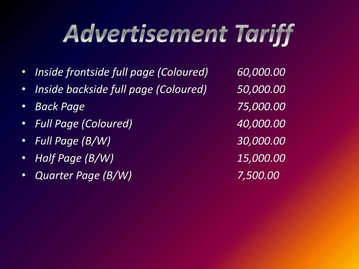 Advertisement Tariff
