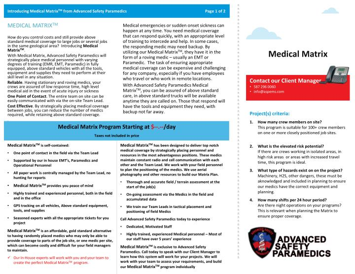 Introducing medical matrix tm from advanced safety paramedics page 1 of 2