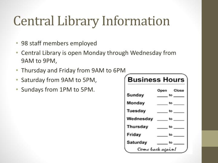 Central Library Information