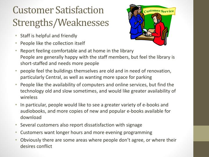 Customer Satisfaction Strengths/Weaknesses