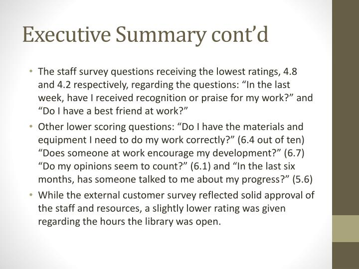 Executive summary cont d