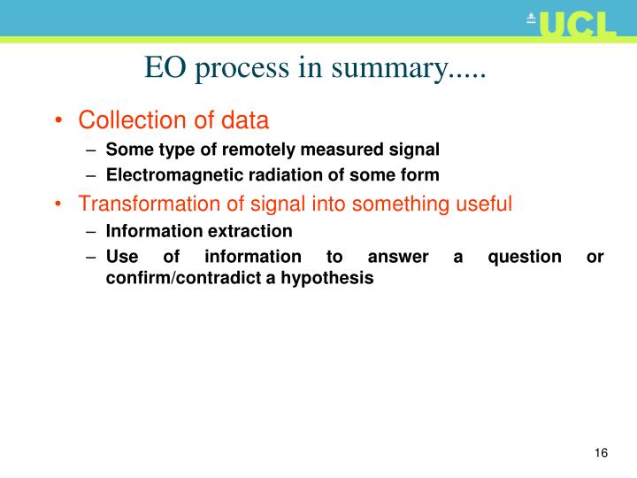EO process in summary.....