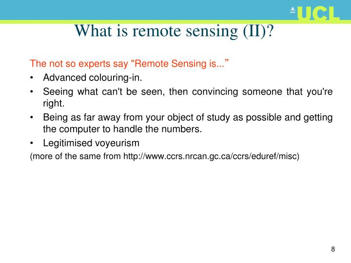 What is remote sensing (II)?