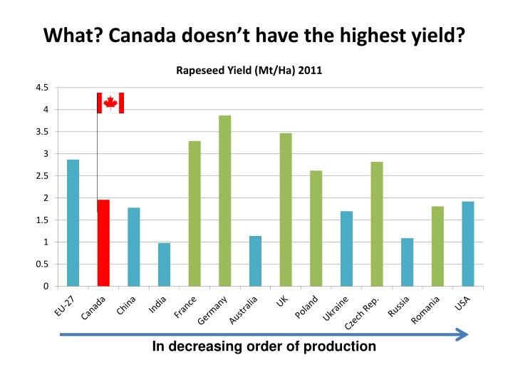 What? Canada doesn't have the highest yield?
